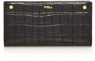 Furla Croc-Embossed Leather Continental Wallet