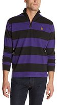 U.S. Polo Assn. Men's Striped Rib Mock Neck 1/4 Zip Pullover