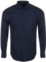 Replay Long Sleeved Slim Fit Shirt Navy