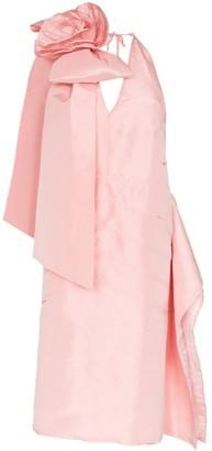 Miu Miu Rosette applique silk-taffeta dress