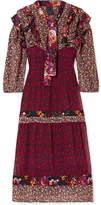 Anna Sui Butterflies And Bells Ruffled Printed Silk-jacquard Dress - Purple