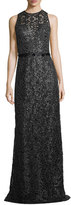 Theia Sleeveless Jewel-Neck Lace Evening Gown