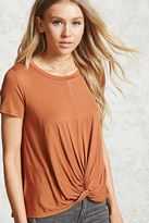 Forever 21 FOREVER 21+ Slub Knit Twist-Front Tee