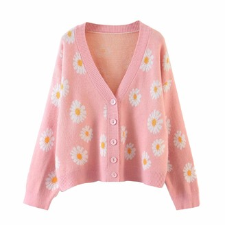 Femereina Women's Sweater Y2K Floral Print Sweater Knitted Cardigan Long Sleeve Loose Pullover Tops Preppy Style Winter Argyle Clothing (White One Size)