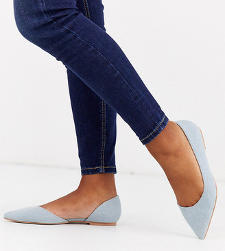 ASOS DESIGN Wide Fit Virtue d'orsay pointed ballet flats in denim
