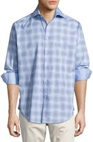Thomas Dean Plaid Long-Sleeve Sport Shirt, Blue