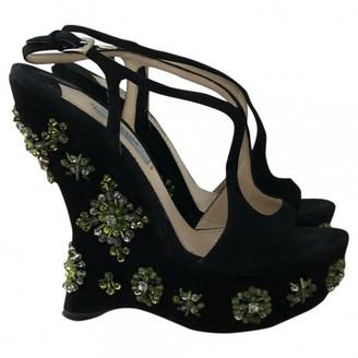 Prada Black Suede Sandals