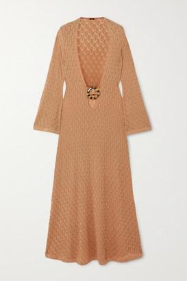 Dodo Bar Or Gigi Embellished Cutout Crocheted Cotton Maxi Dress - Camel