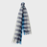 Paul Smith Women's Navy And Sky Blue Partial Gingham Wool Scarf