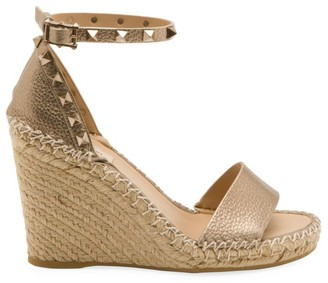 Valentino Garavani Rockstud Metallic Leather Espadrille Wedge Sandals