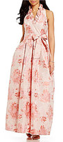 Jessica Howard Ruffle-Neck Sleeveless Floral Ballgown