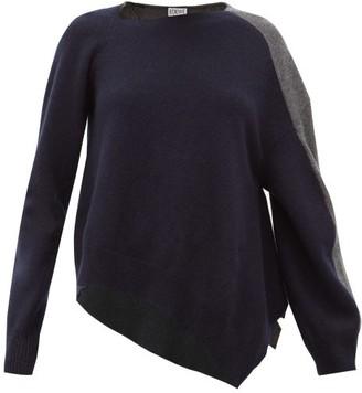 Loewe Asymmetric Wool-blend Sweater - Womens - Navy Multi