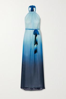 Jonathan Simkhai Fringed Ombre Crinkled Chiffon Halterneck Maxi Dress - Sky blue