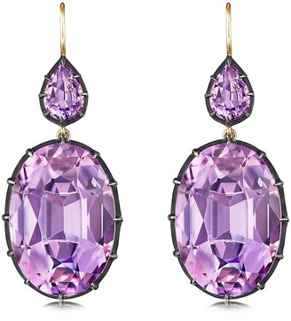 Fred Leighton 18kt Yellow Gold And Oxidised Sterling Silver Amethyst Drop Earrings