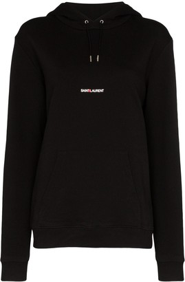 Saint Laurent Logo-Print Cotton Hoodie