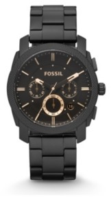 Fossil Machine Mid-Size Chronograph Black Stainless Steel Watch 42mm