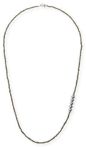 """Armenta Freshwater Pearl Pyrite Necklace with Diamonds, 38"""""""