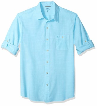 Izod Men's Slim Fit Saltwater Dockside Chambray Long Sleeve Button Down Solid Shirt