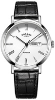 Rotary Silver And Black Leather Watch Gs05300/01
