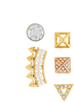 Rebecca Minkoff Singles Club Spike Mix-&-Match Earring Set, Tri-Tone