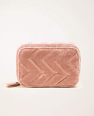 Ann Taylor Quilted Velvet Jewelry Case