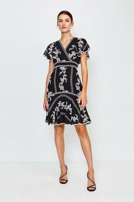 Karen Millen Embroidered Fit and Flare Dress
