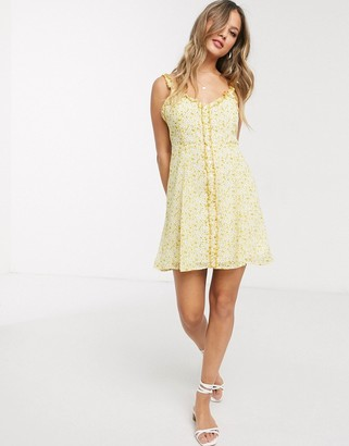 Gilli button down mini dress with ruffle detail in yellow floral