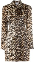 Ganni leopard print shirt dress