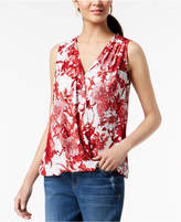 INC International Concepts I.N.C. Printed Sleeveless Surplice Top, Created for Macy's