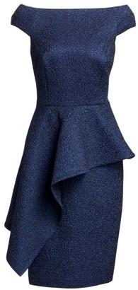 Teri Jon By Rickie Freeman Off-the-Shoulder Asymmetric Peplum Dress