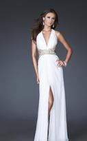 La Femme 16100 Gold Strap Crisscross Back Halter Style Evening Gown