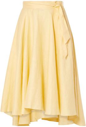 Miguelina Gale Linen Midi Skirt