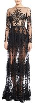Zuhair Murad Long-Sleeve Beaded-Embroidery Gown with Pleated Skirt, Jet