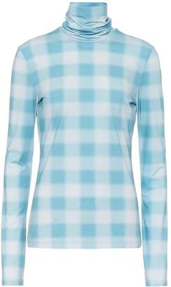 Proenza Schouler White Label Checked stretch-cotton high-neck top