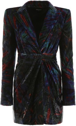 DSQUARED2 MULTICOLOR VELVET MINI DRESS 40 Blue, Orange, Green