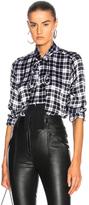 Equipment Essential Tie Neck Blouse in Black,Checkered & Plaid.