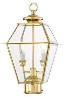 Three Posts Bevin Outdoor 2-Light Lantern Head Finish: Polished Brass