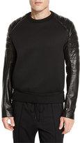 Juun.J Juun J Quilted Leather-Trim Sweater, Black