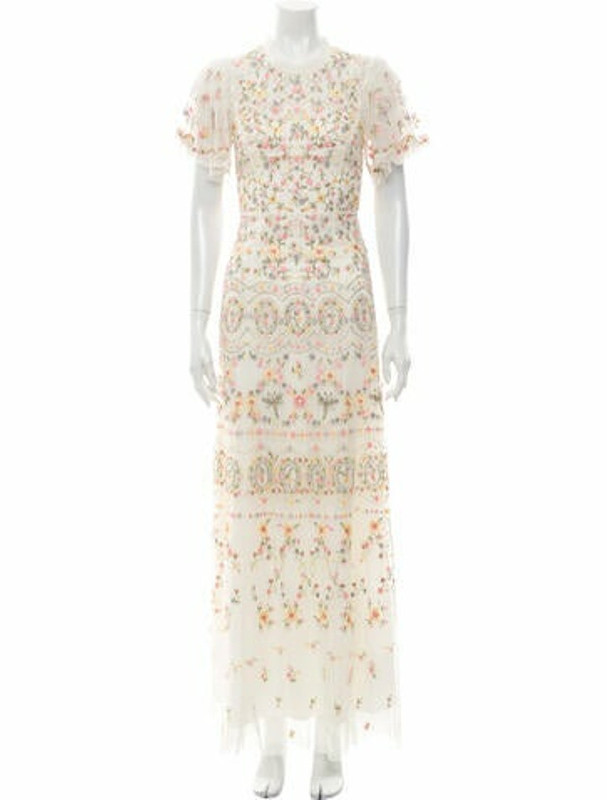 Needle & Thread Floral Print Long Dress w/ Tags White