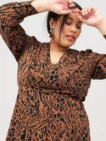 TP V By Very Curve Split Front Animal Midi Dress - Print