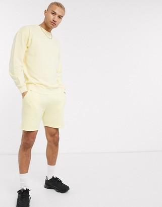 Jack and Jones Originals co-ord jersey shorts in lemon
