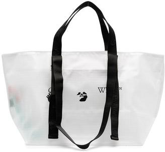 Off-White Transparent Logo-Printed Tote Bag
