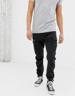 Jack and Jones slim fit cargo trousers in black