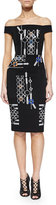 Peter Pilotto Off-The-Shoulder Arcade-Print Sheath Dress