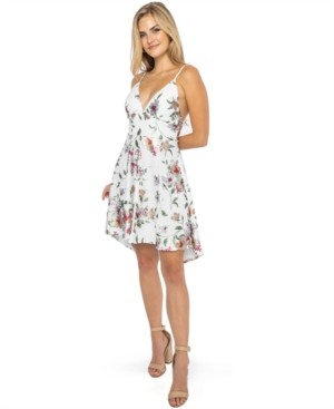 B. Darlin Juniors' Floral-Lace A-line Dress