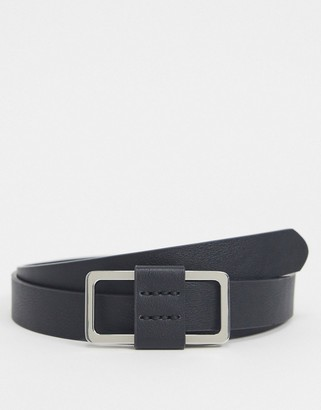 ASOS DESIGN skinny belt in black faux leather with box buckle
