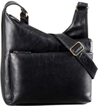 Derek Alexander Angled Top Zip Leather Crossbody Bag