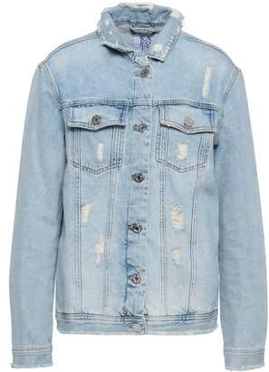 Zoe Karssen Appliqued Distressed Denim Jacket