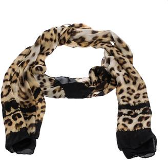 Roberto Cavalli Black & Brown Leopard Printed Silk Scarf