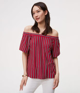 LOFT Striped Tie Back Off The Shoulder Top